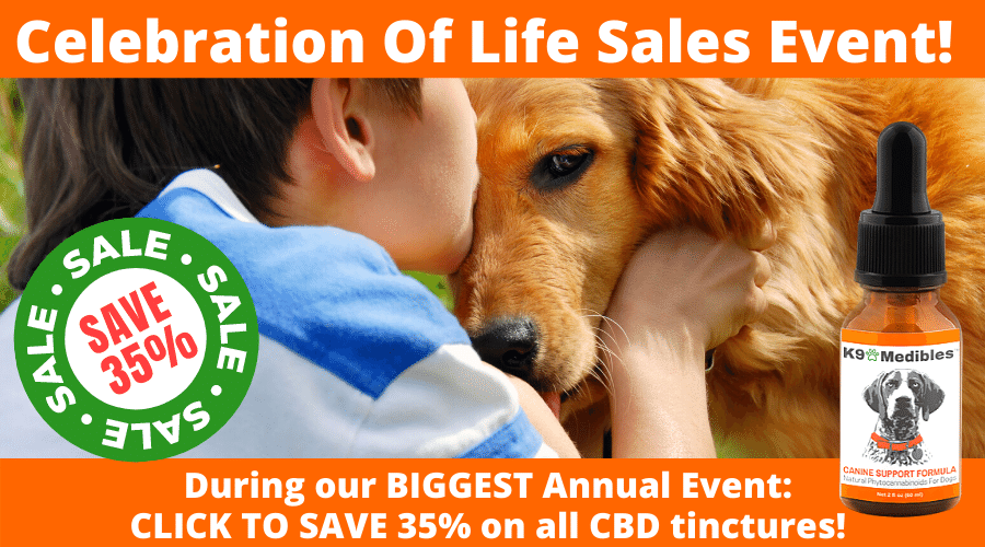 Click here to save 35% during our Celebration of Life Sale - the best CBD oil for your dog!