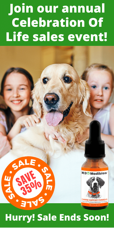 Save 35% during our Annual Sales Event! K9 Medibles Canine Support Formula CBD Oil for your dog is the #1 rated oil!